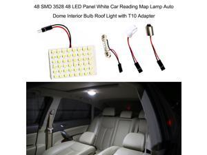 48 SMD 3528 48 LED Panel White Car Reading Map Lamp  Auto Dome Interior Bulb Roof Light with T10 Adapter