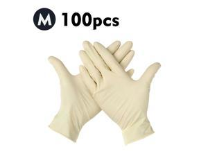 (M)100 Pcs/Disposable Gloves Thick Powder-Free Rubber Latex Stretchy Gloves Sterile Food Safe Grade for Home Food Laboratory Use