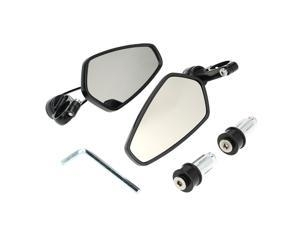 "Pair of Motorcycle Universal 7/8"" Handle Bar End Rearview Mirror CNC Aluminum 360° Rotation Bracket Side View Mirrors"