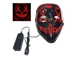 Glow Mask Modes Adjustable EL Wire Light Up Skull Luminous Mask Costume Party for Halloween (Red, Voice-control)