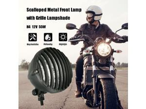 H4 12V 55W 5-inch Motorcycle Scalloped Headlight with Grille Lampshade Chopper Bobber