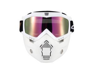 Mortorcycle Mask Detachable Goggles and Mouth Filter for Open Face Helmet Motocross Ski Snowboard