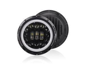 12V/24V Motorcycle Car Headlight 7 inches Round LED Driving Lamp Head Lamp Fit for 7 inches Jeep Wrangler, Retro Turn Signal