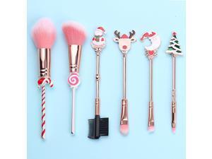 Makeup Brush Set Christmas Theme Makeup Brushes with Pouch Blush Foundation Eyebrow Eyeshadow Lip Brush