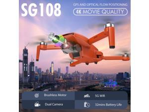 SG108 RC Drone with Camera 4K Camera Brushless Drone Dual Camera 5G WiFi FPV GPS Optical Flow Positioning Gesture Photo Video Point of Interest Flight Follow Me RC Qudcopter