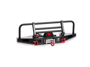 Metal Front Bumper with Winch 2 LED Light for1/10 RC Car Crawler Compatible with Traxxas Hsp Redcat Rc4wd Tamiya Axial Scx10 D90 HPI Car Upgrade
