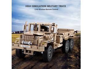 Cada DOUBLE E 545PCS 2.4G RC Military Truck Building Blocks Bricks Technic Car Children DIY Assemble RC Toy for Kids Gift