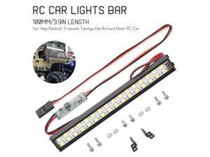 RC LED Lights Bar 100mm/3.9in Metal Roof Lamp Light Headlight 32LEDs Light for 1/10 Traxxas TRX-4 Trx-6 D90 HSP Redcat RC 4WD Tamiya Axial SCX10 HPI RC Car DIY