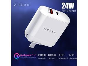 vissko PD Fast Charger 24W QC3.0+PD3.0+FCP+AFC For iPhone Huawei Samsung Xiaomi Type-C USB Phone Flash Charger 100V-240V US Plug