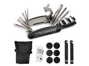 Bicycle Repair Tool Kit 16 in 1 Multifunction Bike Fix Tools with Portable Bag Two Tire Lever Bike Repair Tool