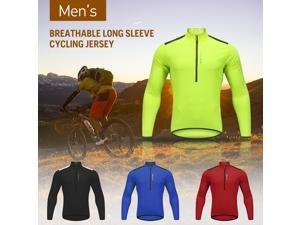 Wosawe Men's Cycling Jersey Spring Autumn Half-zip MTB Bike Riding Long Sleeve Shirt Clothing
