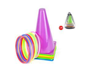 6 Pack Traffic Cones Outdoor Soccer Training Agility Marker Cones with 10 Rings for Kids