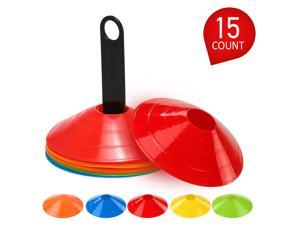 15pcs Agility Disc Cone Set Multi Sport Training Space Cones with Plastic Stand Holder for Soccer Football Ball Game Disc Mini Training Cones Field Markers