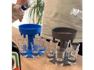 6 Shot Glass Dispenser and Holder, Dispenser For Filling Liquids, Bar Cocktail Shots Dispenser, Multiple 6 Shot Cocktail Dispenser with 6 Plastic Color/Transparent Cup