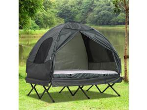 Extra Large Compact Pop Up Portable Folding Outdoor Elevated All in One Camping Cot Tent Combo Set