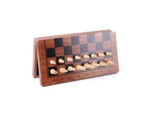 Magnetic Wooden Folding Chess Set with Felted Game Board Interior Folding Chessboard Travel Lightweight Board Educational Toys Parlor Game Outdoor Portable Parent-Child Toy