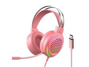 Wired Headset Gaming Headset Colorful RGB Light Headphone with 360° Noise Reduction Microphone for PC Laptop Pink