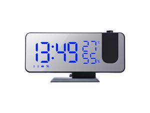 Digital Projection Alarm Clock with Mirror Surface 4-in-1 180 Degree Projector Clock Indoor Temperature Humidity Monitor FM Radio Phone Charger  Selectable for Bedroom Kids Room Living