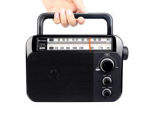 Retekess TR604 AM / FM Radio for the Elderly Two Band Radio Portable Handle Battery & AC Powered Black