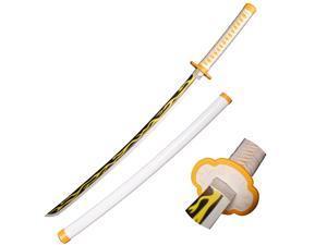 Sword Valley Halloween Prop Wooden Cosplay Anime Swords, Agatsuma Zenitsu Samurai Sword, the special knife of Demon Slayer Sunwheel Knife Katana 40 in