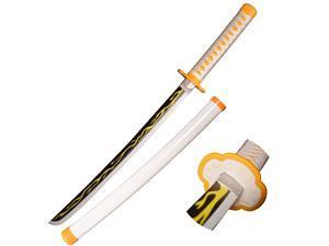 Sword Valley Halloween Prop Wooden Cosplay Anime Swords, Agatsuma Zenitsu Samurai Sword, the special knife of Demon Slayer Sunwheel Knife Katana 30 in