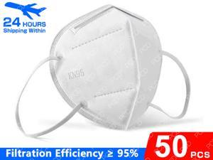 50 Pcs KN95 Face Masks Dust Respirator KN95 Mouth Masks Adaptable Against Pollution Breathable Mask Filter