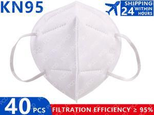 KN95 N95 Mask 5 Layers Filtering Face Masks Anti-dust Safety Non-Woven Earloop Disposable Cover Mouth Dust Mask (40 Pcs)