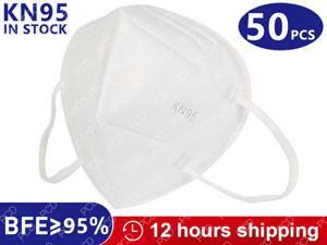 KN95 N95 mask 5 layers filtering face masks anti-dust safety non-woven earloop non-disposable cover mouth dust mask - 50 piece, white, fast shipping, high quality