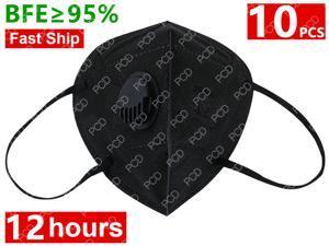10PCS Reusable Face Mask 5-layers - Valved Face Mask N95 Protection Face Mask Folding Fespirator Black
