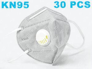 30pcs KN95 N95 Face Mask Breathing Valve Face Mask With Breathing Valve Mouth Folding Non-woven Thickened Protective Masks (6 Layers, Grey, In Stock)