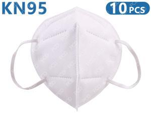10Pcs KN95 Mask Face Mask Protective Respirator PM2.5 5-Layer N95 Mask Adult Anti-fog Haze Dustproof Non-Woven Fabrics Mask (White, In Stock)