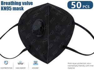 50Pcs KN95 Mask, 5-layer KN95 Face Mask Anti Covid-19 Face Mask Protection Face Mask Air Filter Dust Proof Healthy Protective Respirator (Black, In Stock)