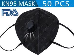 50pcs Reusable KN95 Mask Activated Carbon Mask 6-layers With Breathing Valve Folding Respirator Black