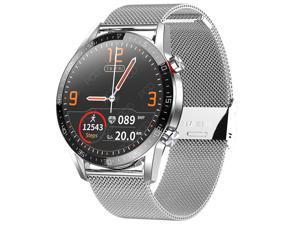 Smart Watch Men Women IP68 Waterproof ECG Heart Rate Monitor Fitness Tracker Blood Pressure Smartwatch Sports Record Health Monitoring Intelligent Reminder (Silver)