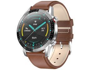 Smart Watch Men IP68 Waterproof ECG PPG Bluetooth Call Blood Pressure Heart Rate Fitness Tracker sports Smartwatch (Brown Leather)