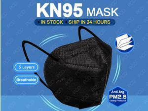 Black N95 KN95 Mask, 5-layer Face Mask, Anti COVID-19 Virus, Oral And Nasal Hygiene Protection, Breathable, Dustproof, Non-woven Fabrics, PM2.5, Work Mask(10 pcs, Fast Shipping)