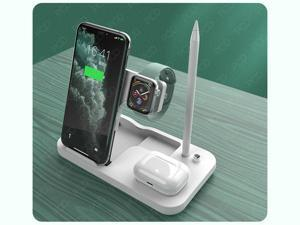 Qi Wireless Charger 4 in 1 Folding Wireless Fast Charging Station for Apple Watch 6 SE 5 4 3 2 iPhone 11 XS XR X 8 Airpods Pro Apple Pencil Stand Pad