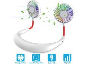 Hand Free Personal Neck Fan - Portable Rechargeable USB Battery Mini Fan - Headphone Design Wearable Neckband Fan Necklance Fan Cooler Fan with Dual Wind Head for Traveling Outdoor Office Room