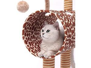 Cat Tree with Hanging Ball Climber Scratching Post Toys Nest Giraffe Scratcher Animal Funny Protecting Furniture Pet House Frame