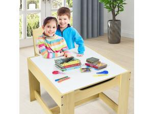 Kids Table Chairs Set With Storage Boxes Blackboard Whiteboard Drawing-Natural Children Study Table Chair