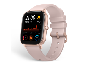 """Amazfit GTS Smartwatch, 1.65"""" AMOLED Display, Slim Metal Body, Smart Notifications, Activity Tracking, 14-Day Battery Life, Water Resistance, Rose Pink"""