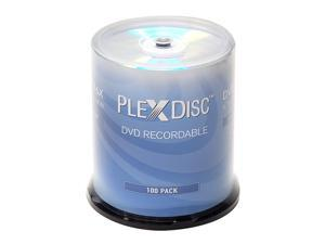 100 Pack PlexDisc 16X DVD-R 4.7GB Silver Top Blank Media Recordable Disc 632-115-BX