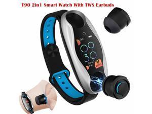 T90 2in1 Smart Watch BT5.0 TWS Earbuds Fitness Tracker Wireless Sports Headphone