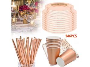 146PCS Rose Gold Party Supplies Party Tableware Foil Paper Plates Napkins Cups Straws for Weddings, Anniversary, Birthday for 24 Guests