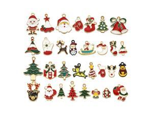 31pcs Assorted Gold Plated Enamel Christmas Decorations Charm Pendant for DIY Jewelry Making Necklace Bracelet Earring DIY Jewelry Accessories Charms