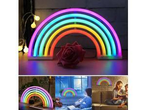Rainbow Night Light Rainbow Light Neon Wall Light 5 Color Rainbow Neon Sign Light Battery Or Usb Operated Table Led Lights For Girls Bedroom Hanging Wall Decoration Newegg Com