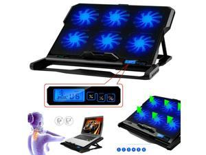 Laptop Cooling Pad, USB Powered Gaming Laptop Cooler Pad with 6 Ultra Quiet Powerful Fans, Adjustable height and Speed With Cool Blue LED Lights Portable Cooler Pad