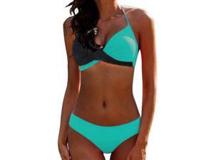 Women Push Up Bikini Set Halterneck Padded Swimsuit Swimwear Bathing Suit Beachwear Color-Block