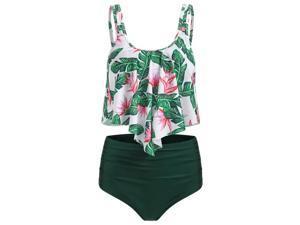 Women High Waist Bikini Set Boho Ruffle Padded Push Up Swimsuit Swimwear Beach Bathing Suit