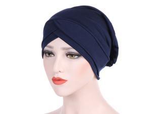 Womens Indian Cancer Chemo Turban Hat Hair Head Wrap Hijab Muslim Caps Stretch Headband